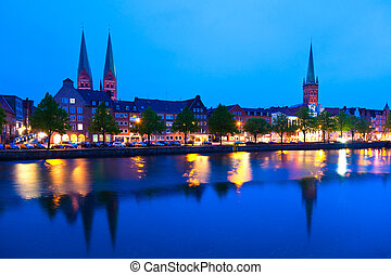 Lubeck, Germany - Waterfront in Lubeck, Germany