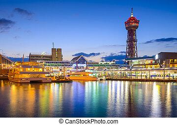 waterfront, japão, skyline, fukuoka