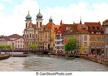 waterfront, lucerne, suíça, igreja, jesuíta