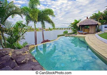 waterfront, mansão, com, piscina, e, bali, cabana,...