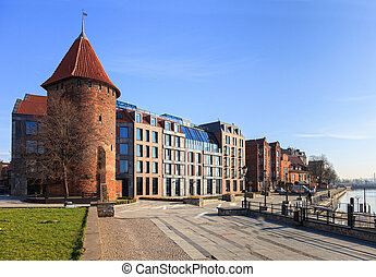 waterfront, motlawa, em, gdansk