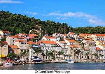 Waterfront of Korcula town, Croatia