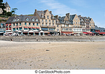 waterfront of town Cancale in summer day, France - CANCALE, ...