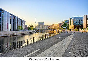 Waterfront on the Reichstag backyard, Berlin, Germany -...