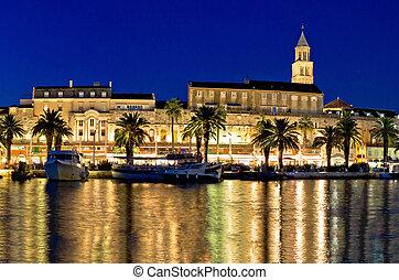 waterfront, panoráma, bámulatos, este, hasít
