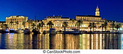 waterfront, panorama, espantoso, noite, divisão