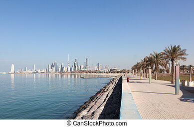 Waterfront promenade in Kuwait City, Middle East