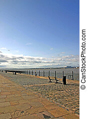 Waterfront Promenade on the River Mersey in Liverpool