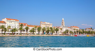 Waterfront resort town, view from the sea