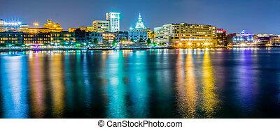 waterfront, savannah, cenas rua, geórgia