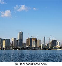 waterfront, skyline, miami.