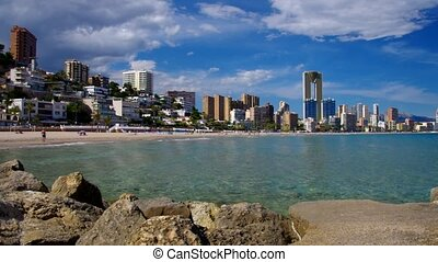 waterfront skyscrapers and beach in Benidorm, Costa Blanca,...