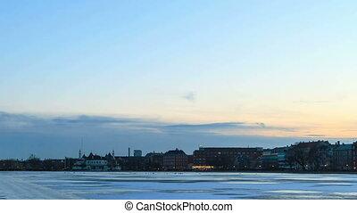 Waterfront views. Copenhagen, Denmark. Time Lapse. 4K -...