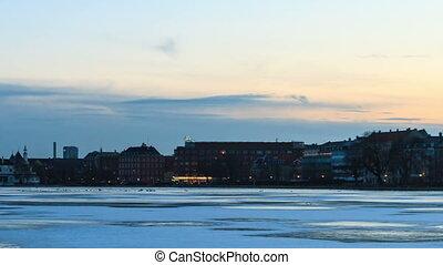 Waterfront views. Copenhagen, Denmark. Time Lapse