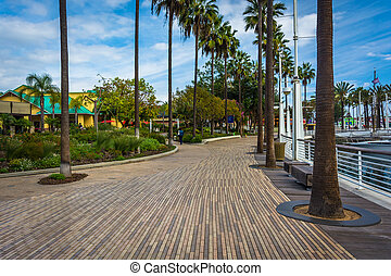 Waterfront walkway in Long Beach, California.