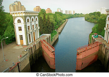 watergate in a sluice on Moscow canal
