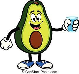 waterglas, avocado, mascotte