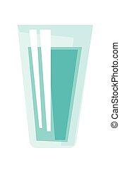 waterglas, vector, illustration., spotprent