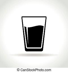 waterglas, witte achtergrond, pictogram