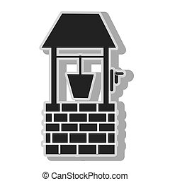 Waterhole bucket water , isolated flat icon with black and...