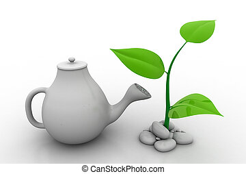 Watering a plant, investment concept