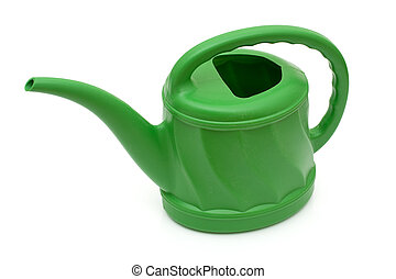 A green watering can isolated on a white background, watering can