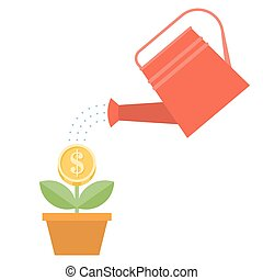 watering can and dollar plant in po