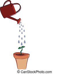 Watering Can and Flower Pot - A watering can sprinkling...