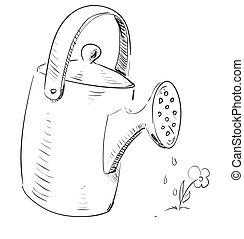 Watering can cartoon icon. Sketch fast pencil hand drawing...