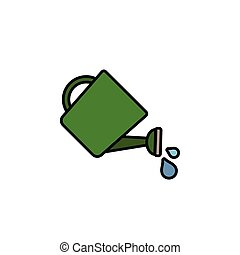 Watering can. Filled color icon. Gardening vector ...