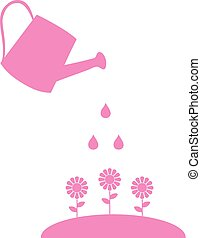 watering can flower - vector watering can