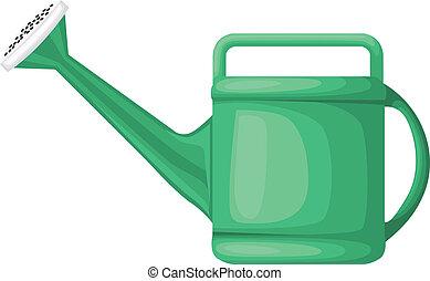 Garden green plastic watering can