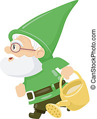 Watering Can Gnome - Illustration of a Gnome Carrying a...