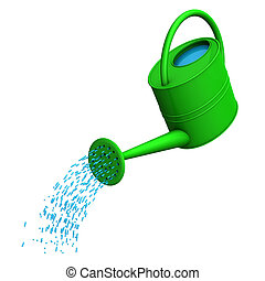 Green watering can on the white background.