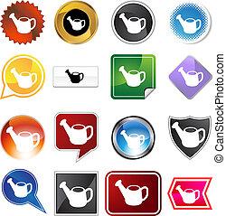 Watering Can Icon Set - Watering can icon set isolated on a...