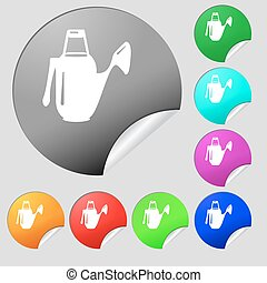Watering can icon sign. Set of eight multi colored round buttons, stickers. Vector