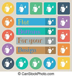 Watering can icon sign. Set of twenty colored flat, round, square and rectangular buttons. Vector
