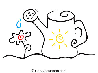 Watering can - Illustration of water can and flower on white