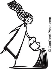 Watering Can - Woodcut style image of a girl sprinkling...