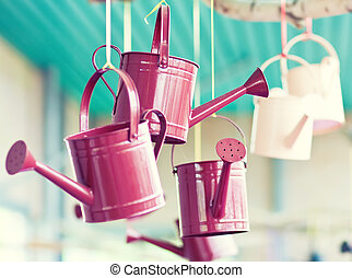 Watering can in Keukenhof garden, Holland