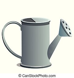 Watering can isolated on white background. Vector cartoon close-up illustration.