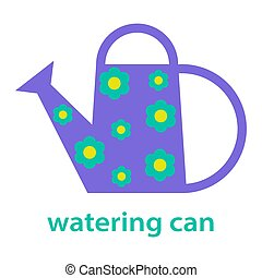 Watering can isolated on white background. Vector illustration.