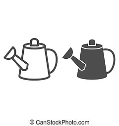 Watering can line and glyph icon. Container vector illustration isolated on white. Garden tool outline style design, designed for web and app. Eps 10.