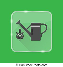 Watering can silhouette icon in flat style on transparent button