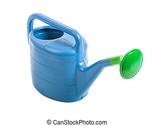 watering can - blue plastic watering can, on white...