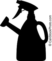 Watering can with a sprayer, shade picture