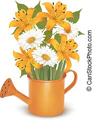 Watering can with a bouquet of flowers. Vector.