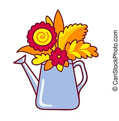 Watering can with autumn flowers and leaves.