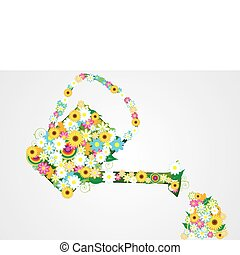 watering can with beautiful flowers