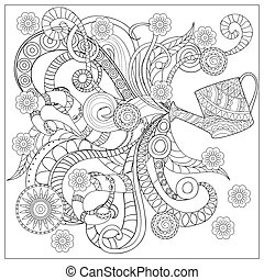watering can with flowers and mandalas - Hand drawn...